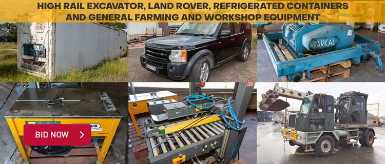 High Rail Excavator, Land Rover, Refrigerated Containers and General Farming and Workshop Equipment