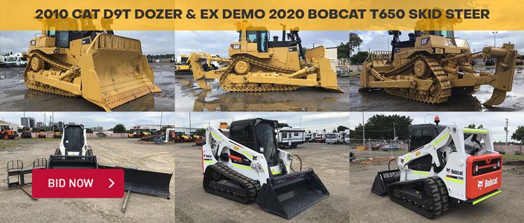 2010 CAT D9T Dozer & Ex Demo 2020 Bobcat T650 Skid Steer