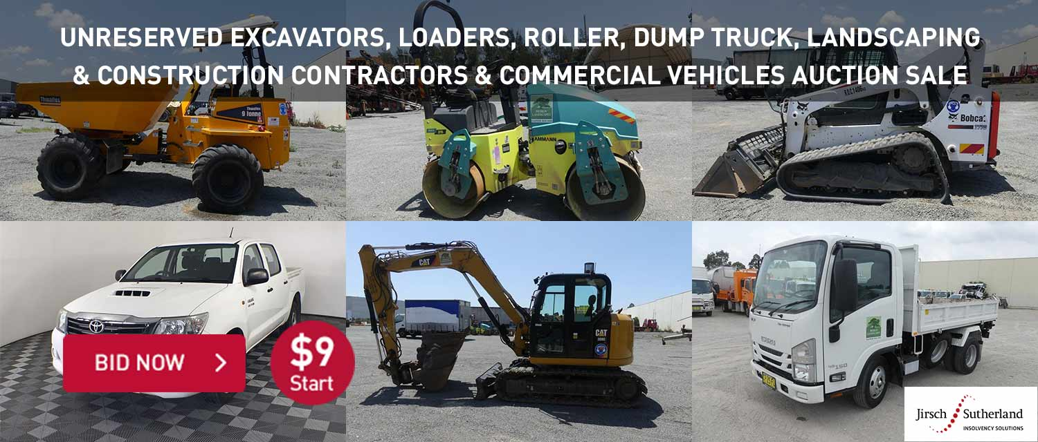 Unreserved excavtors, loaders, roller, dump truck, landscaping and consturction contractors and commerfcial vehicles auction sale