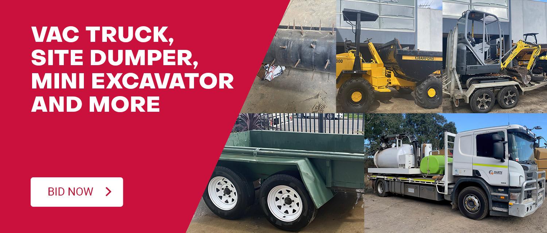 VAC Truck, Site Dumper, Mini Excavator and More