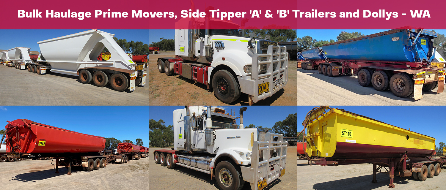 Bulk Haulage Prime Movers, Side Tipper 'A' & 'B' Trailers and Dollys - WA
