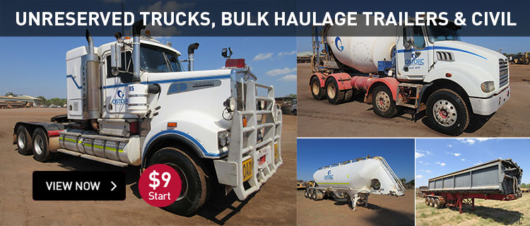 Unreserved trucks, bulk haulage trailers and civil