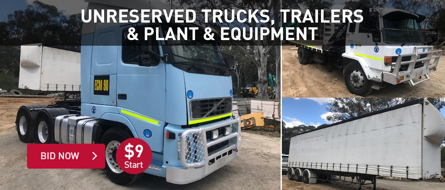 Unreserved trucks, trailers and plant and equipment