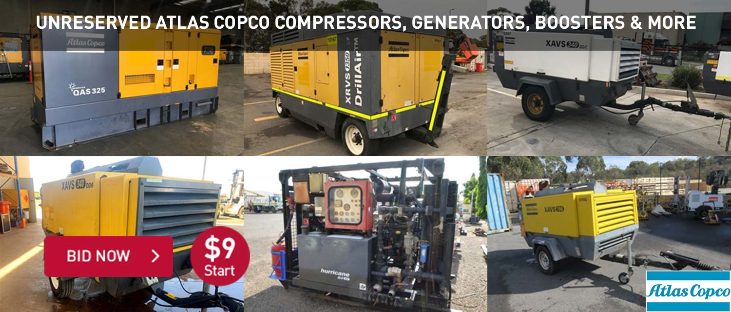 Unreserved Atlas Copco Compressors, Generators, Boosters & More