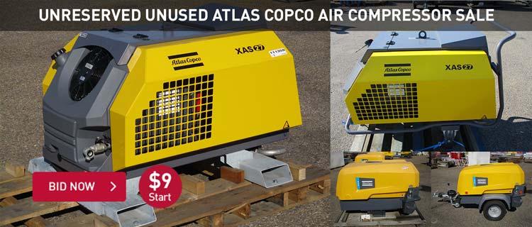 Unreserved Unused Atlas Copco Air Compressor Sale
