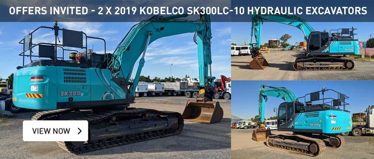 Offers Invited - 2 x 2019 Kobelco SK300LC-10 Hydraulic Excavators