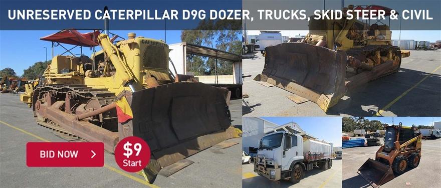 Unrserved caterpillar D9G Dozer, trucks, skid steer and civil