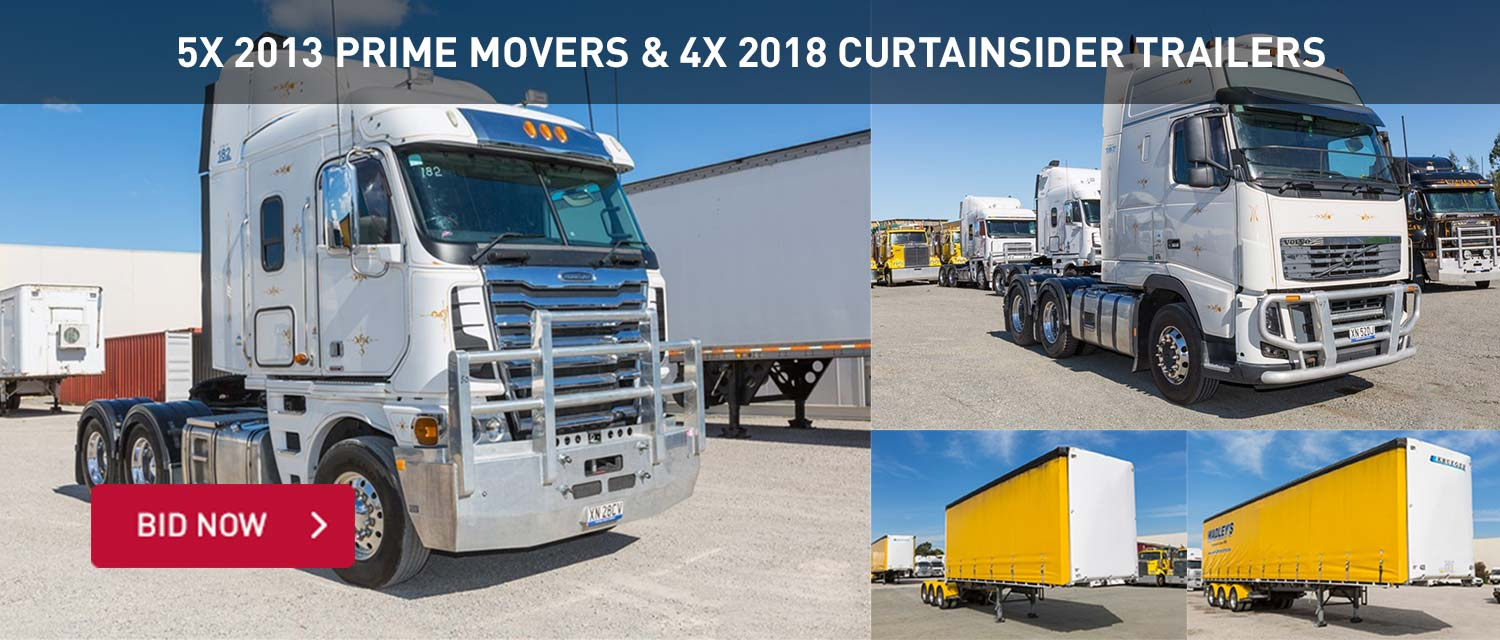 5x 2013 Prime Movers and 4x 2018 Curtainsider Trailers