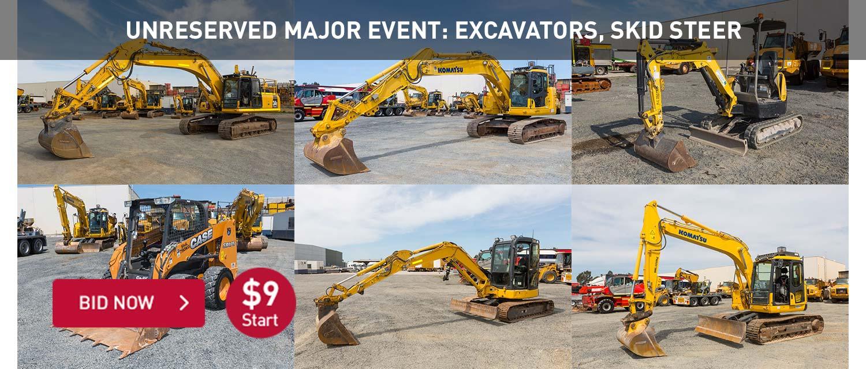 Unreserved Major Event: Excavators, Skid Steer