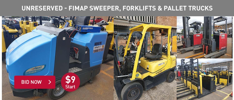 Unreserved - Fimap Sweeper, Forklifts & Pallet Trucks