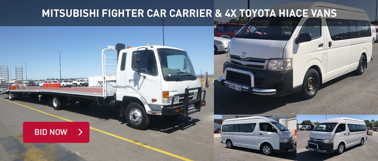 Mitsubishi Fighter Car Carrier & 4x Toyota Hiace Vans