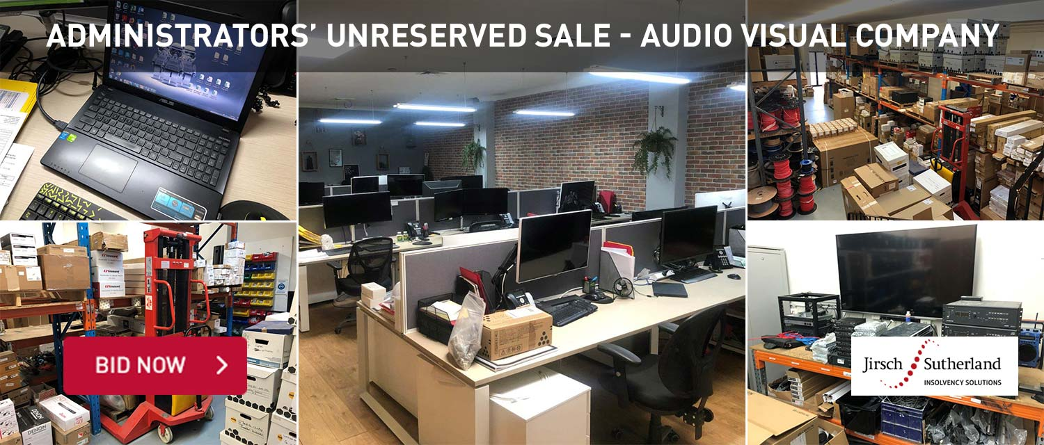 Adminstrator' Unreserved Sale Audio Visual Company