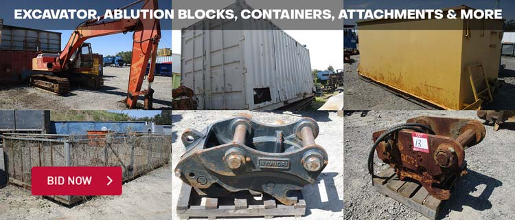 Excavator, Ablution Blocks, Containers, Attachments & More