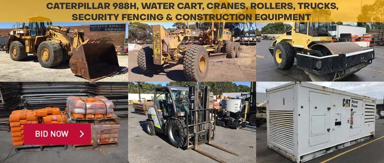 Caterpillar 988H, Water Cart, Cranes, Rollers, Trucks, Security Fencing & Construction Equipment