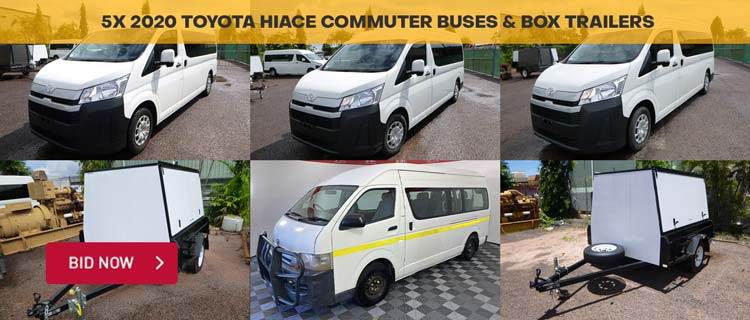 5x 2020 Toyota HiAce Commuter Buses & Box Trailers