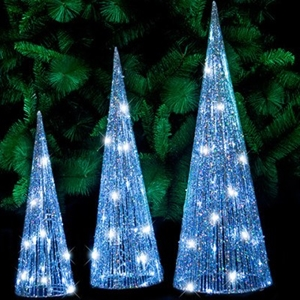 Christmas 3pc Led Glitter Cone Tree Silver