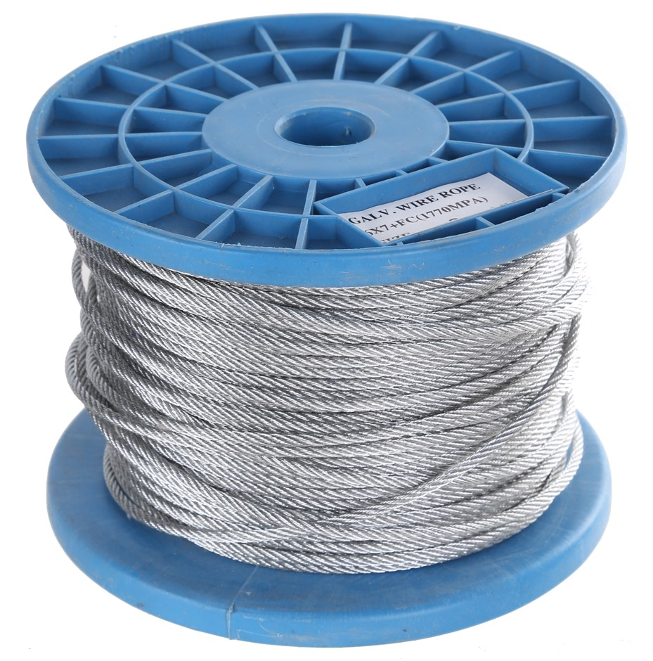 Reel 100M x Galv. Wire Rope 3mm dia., Construction 6x7 FC. Buyers Note - Di