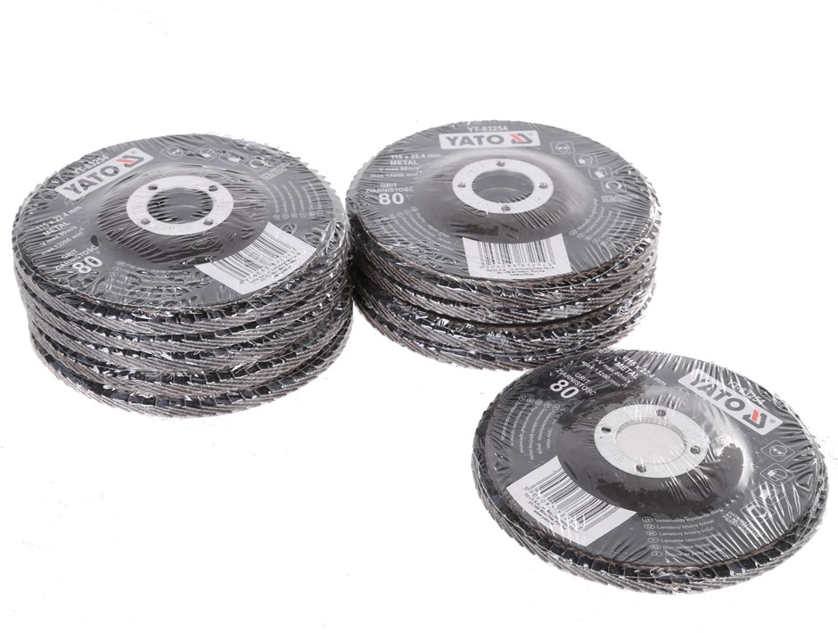 10 x YATO Flap Discs 115 x 22.4mm, Grit 80. Buyers Note - Discount Freight