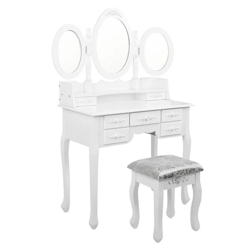 Artiss 7 Drawer Dressing Table With Mirror White