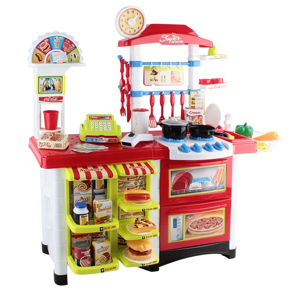 Keezi 59 Piece Kids Super Market Toy Set - Red & White