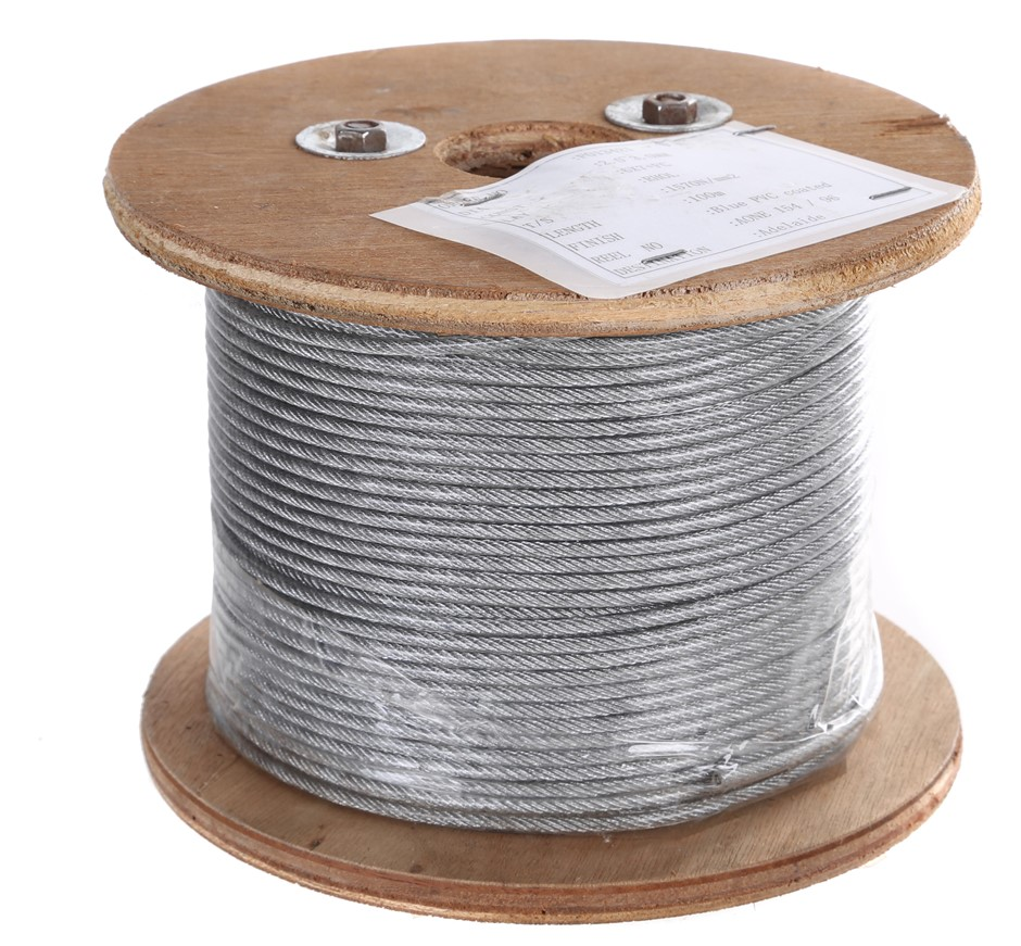 500M Reel x Clear PVC Coated Wire Rope 2/3mm dia Construction 6x7 on Wooden