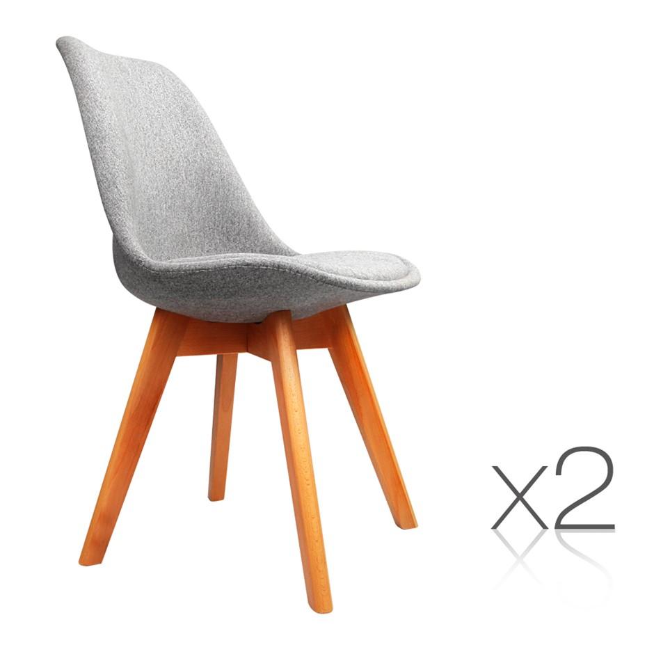 Artiss set of 2 retro beech fabric dining chair light grey