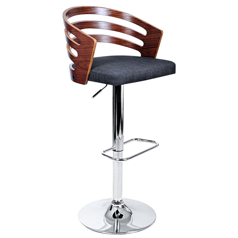 Artiss Wooden Bar Stool with Fabric Seat - Dark Grey