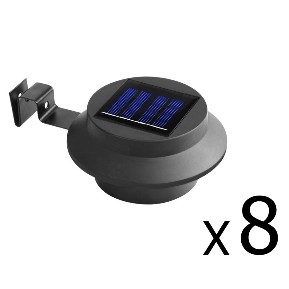 Set of 8 Solar Powered Sensor Lights - Black
