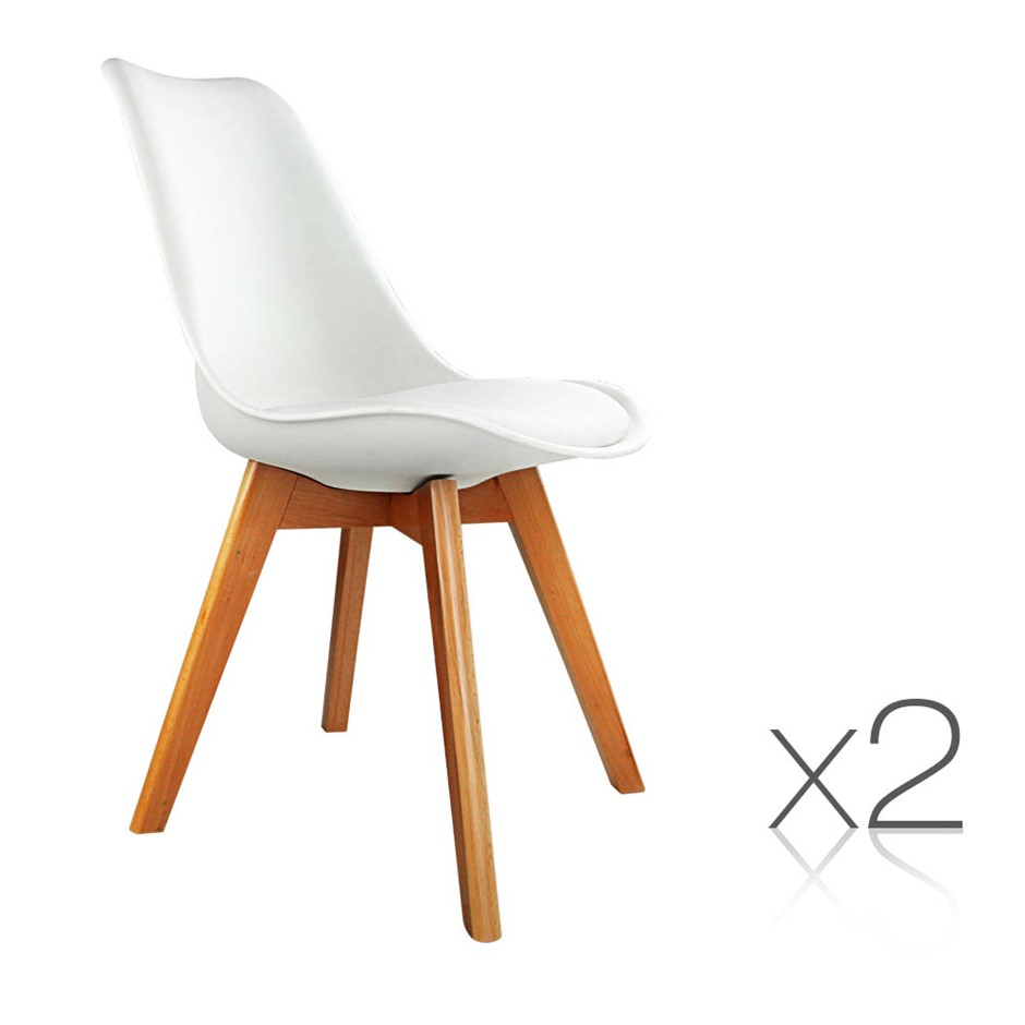 2 X Eames Inspired White PU Dining Chairs