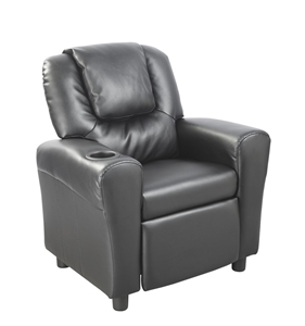 PU Leather Kids Recliner with Drink Hold