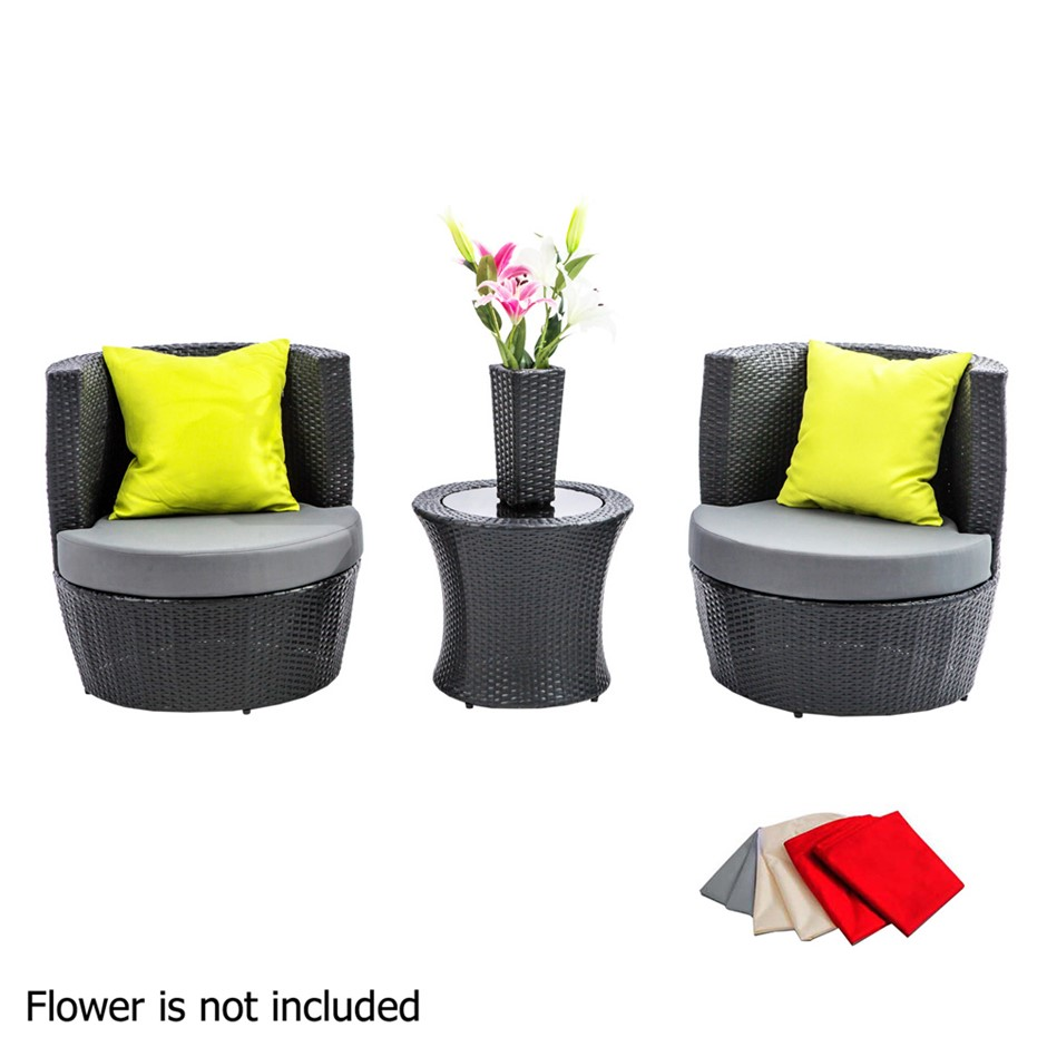 4 Pcs Black Wicker Rattan 2 Seater Outdoor Furniture Patio Set