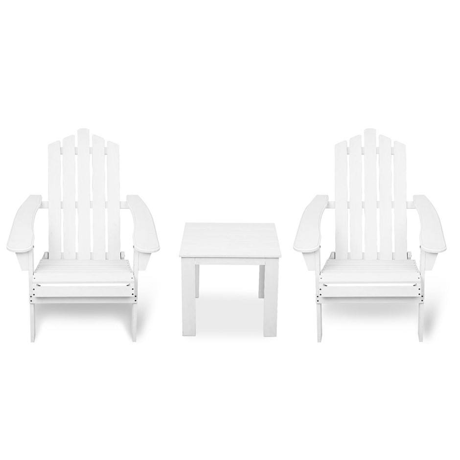 Gardeon 3 Piece Wooden Outdoor Chair and Table Set