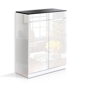 Artiss High Gloss Shoe Cabinet Rack- Bla