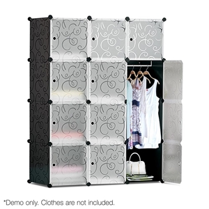 12 Cube Storage Cabinet with Hanging Bar