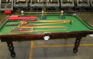 Pool table green velvet covering wooden legs fish net for Koi pond pool table
