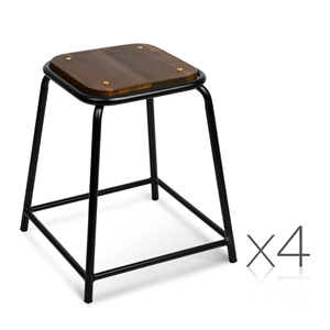 Artiss Set of 4 Pine Wood Bar Stools - B