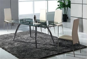 Buy Modern Din03 6 Seater Extendable Glass Top Dining Table Set