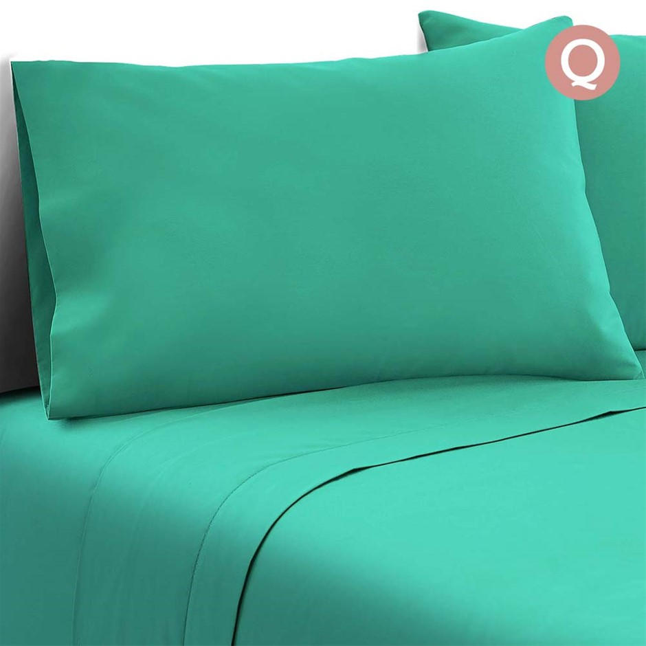 Giselle Bedding Queen Size 4 Piece Micro Fibre Sheet Set - Aqua