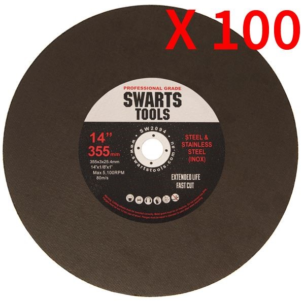 "100Pc 350Mm 355Mm 14"" Metal Chop Off Drop Saw Blades Cutting Discs Wheel"