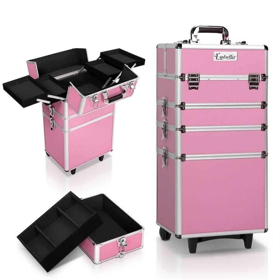 Embellir 7 in 1 Portable Cosmetic Beauty Makeup Trolley - Pink