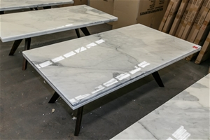 Coffee Table Carrera Marble Top On Timber Legs Approx 1400 X 800 X 450 H Auction 0266