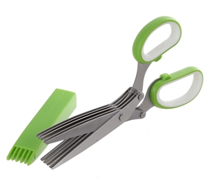 Stainless Steel 5 Blade Herb Scissors. B