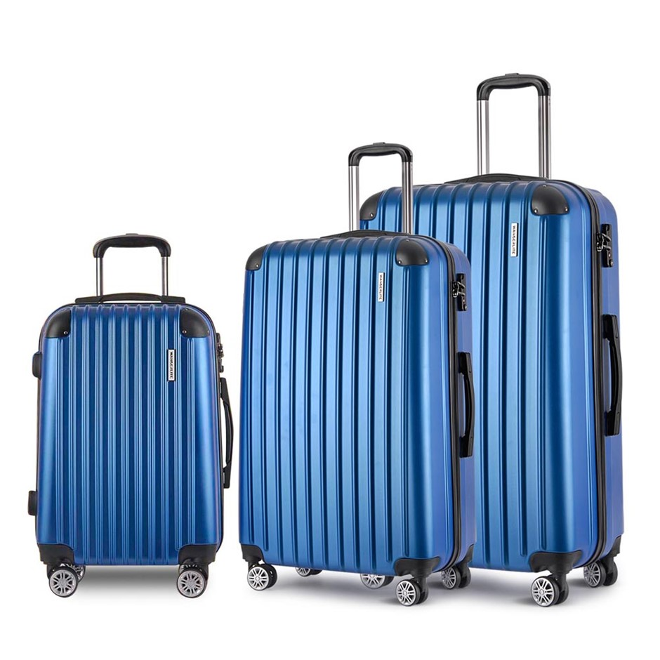 Wanderlite 3 Piece Lightweight Hard Suit Case - Blue