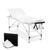 Zensesr 3 Fold Portable Aluminium Massage Table - White