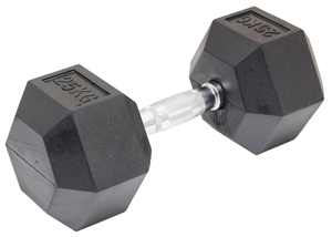 25KG Commercial Rubber Hex Dumbbell Gym