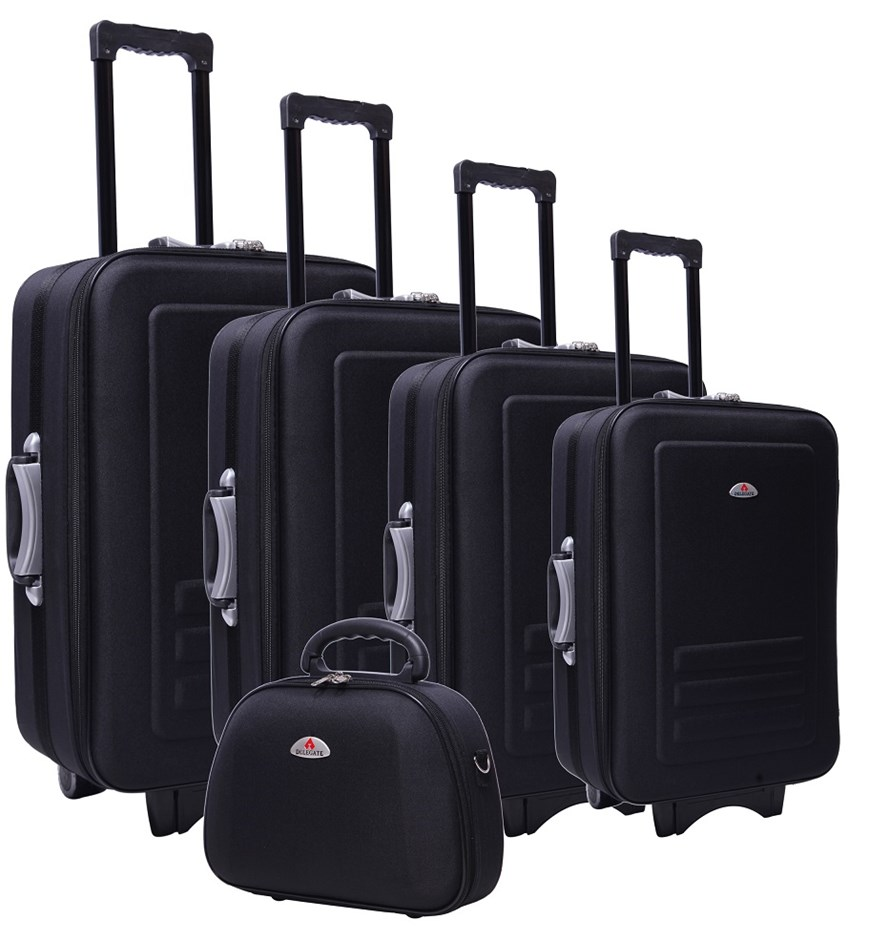 b120174e37 5pc Suitcase Trolley Travel Bag Luggage Set BLACK