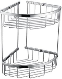 2-Tier Corner Bathroom Basket Shelf Rail