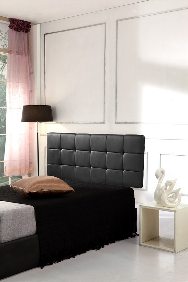 pu leather double bed deluxe headboard bedhead black - High Bed Frames Queen