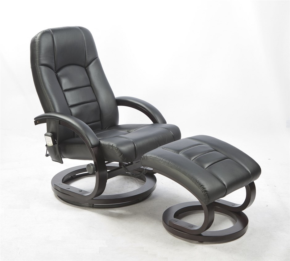 Pu Leather Mage Chair Recliner Ottoman Lounge Remote