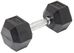 10KG Commercial Rubber Hex Dumbbell Gym
